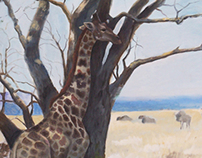 Shady Giraffe - Oil on canvas