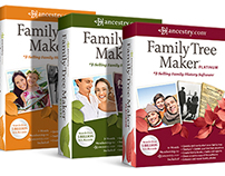 Packaging: Family Tree Maker, Nickelodeon, and more.