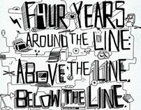 Around the line.