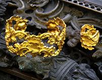 bracelet rocaille , bronze doré,