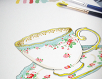 Tea Cups Wrapping Paper