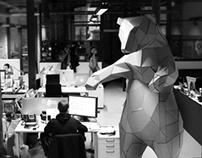 OFFICE BEAR CREATION papercraft installation