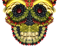 Dia de los muertos fruit skull