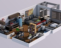 Interior render & day/night cycle
