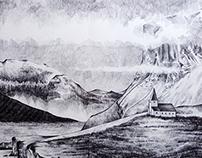 Iceland - Landscape drawing