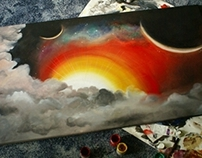 Space acrylic painting.