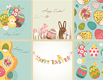 Happy Easter vectors, rabbit and eggs for Greeting card