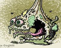 """Gnarly Garlic"" Lowbrow Food Cartoon Character"