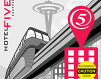 Seattle Monorail Artwork for Columbia Hospitality