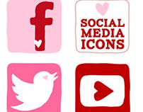 Valentine's Day Social Media Icon Set