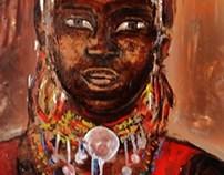 Abstraction à l'huile -portrait acrylique
