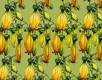 Exotic flower textiles print