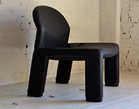 leather Italian design lounge chair