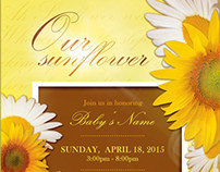 Sunflower Baby Shower Invitation & Raffle Ticket