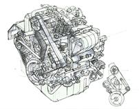 Engine Doodling in Cafe
