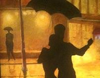 Mural.Work in progress. Tango in the rain