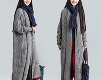 Large pocket long gray sweater
