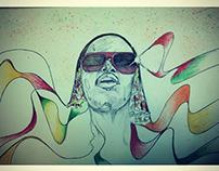 Illustration portrait Stevie wonder : soul in my eyes