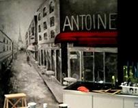 Mural in the Kitchen. Paris Street.