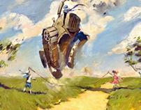 Летняя игра / Summer game. oil / canvas 40x60