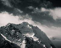Austrian Alps in Greyscale