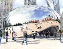 Millenium Park Bean Watercolor