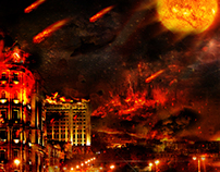 Fire in Baku night
