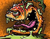 """Sleazy Peach"" Lowbrow Food Fruit Cartoon Character"