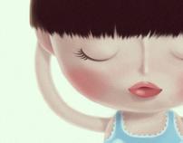 She & her blue clouds pyjamas