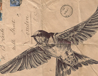Bic Biro drawing on 1934 envelope.