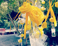 Handmade Paper Craft Flowers and Recycled Bottles