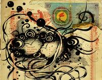 Drawings on sheet music