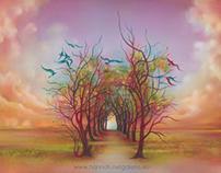 "OIL PAINTING ""Birds of Rainbow Mist"""