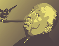 Alfred Hitchcock Illustrated Portrait