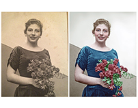 Restoration and colorisation of a bridesmaid photograph