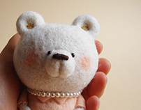 """""""Miss Pearly"""" textile Art Bear"""
