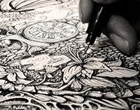 manual drawing progress of NEW BORN artwork