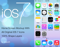 iOS 7 Home Screen With 100% Shape Layers FREE PSD
