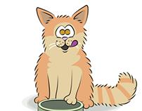 Portrættegning af fire katte