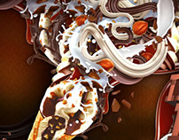 Walls Cornetto Ice Cream illustration Advert