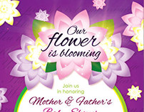 Flower Girl Baby Shower Invitation & Raffle Ticket