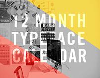 12 Month Typeface Calendar
