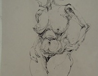 RISD foundation year drawing in class practice
