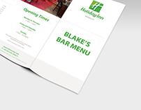 Holiday Inn Barnsley bar menu.