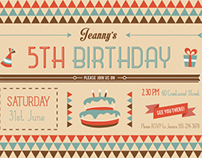Kids Birthday Invitation & Party Kit - Vintage Retro
