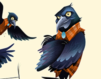Grackle Character Illustrations for the Houstonian