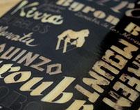Custom made lettering skateboard graphic
