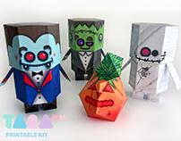 DIY Paper Toys Monsters, Set of 4 Printable Monsters