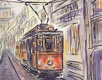 watercolor illustration of old transport