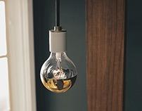 Gold Globe , Teak Wood Wall Lamp